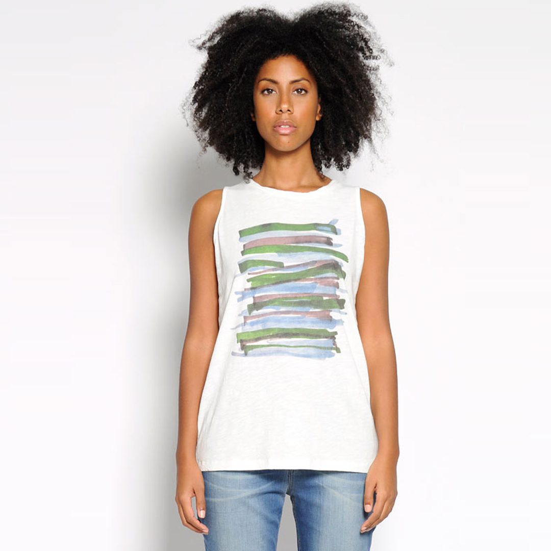 Camiseta tiras algodón orgánico raias cores.