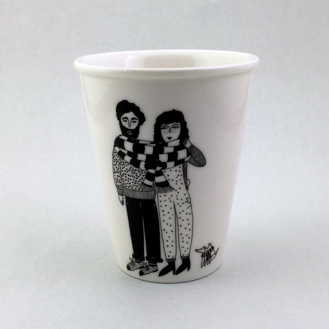 Taza cerámica ilustrada parella bufanda