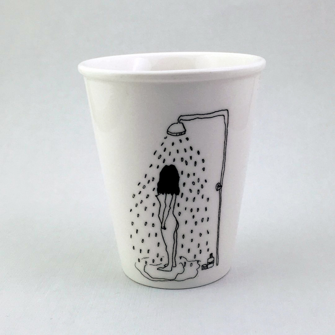 Taza cerámica ilustrada ducha