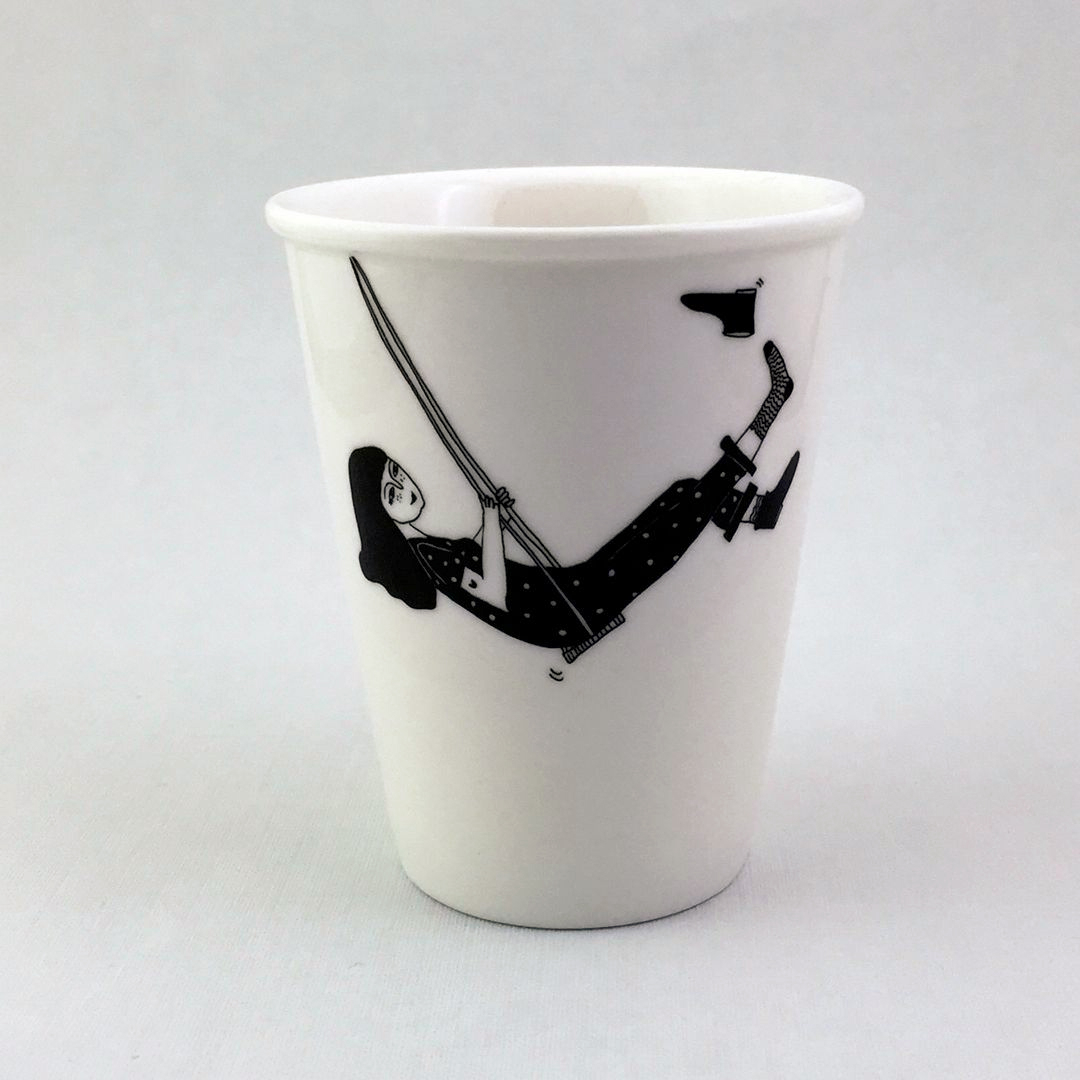 Taza cerámica ilustrada columpio