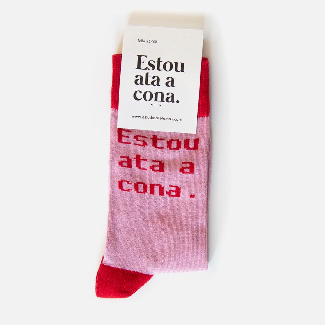"""Calcetíns """"Estou ata a cona"""" Rosa Vermello"""