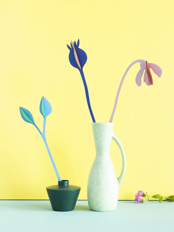 """Flores 3D """"Jazz verán"""" cartón reciclado."""
