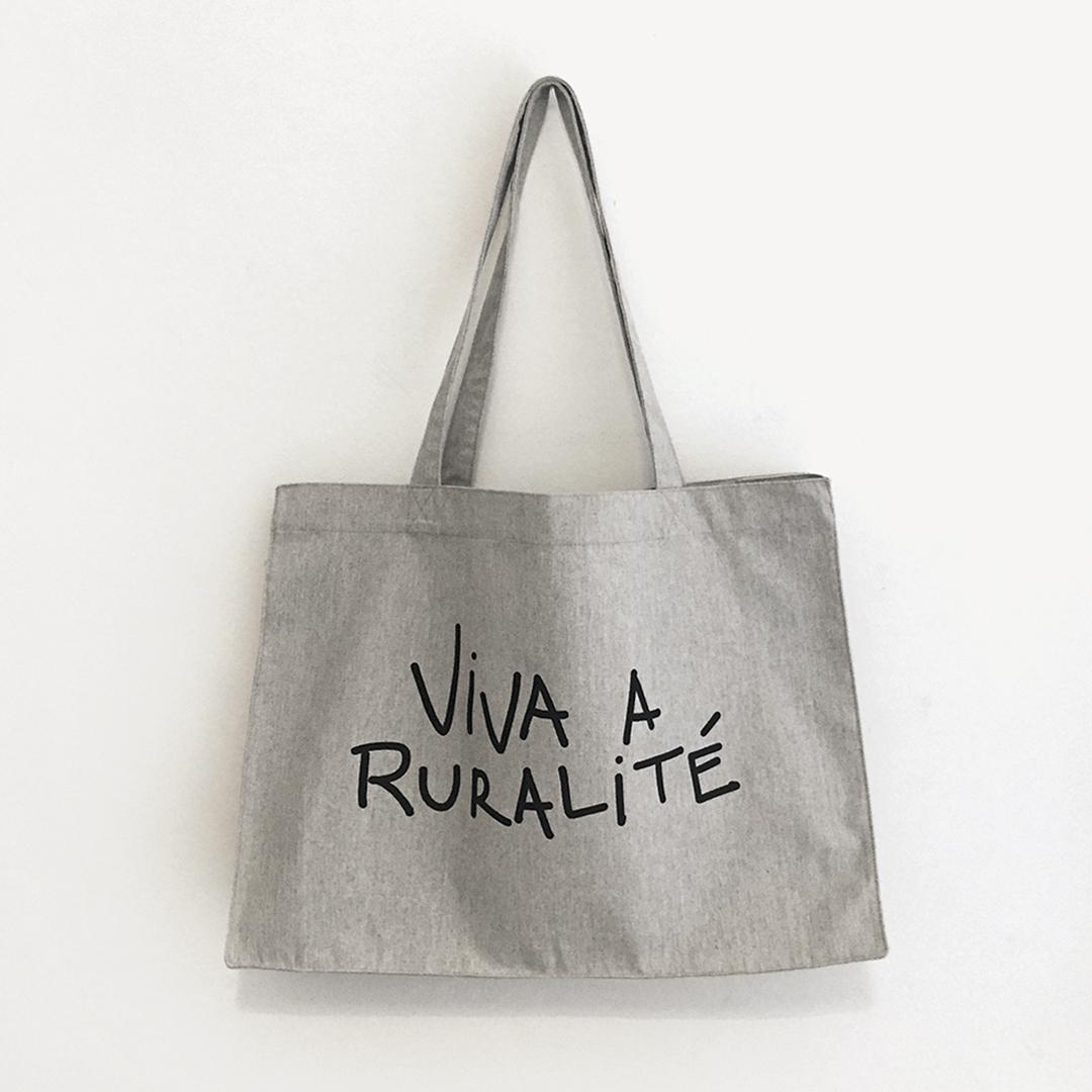 "Saca ""Viva a ruralité"" con fuelle algodón orgánico serigrafía."