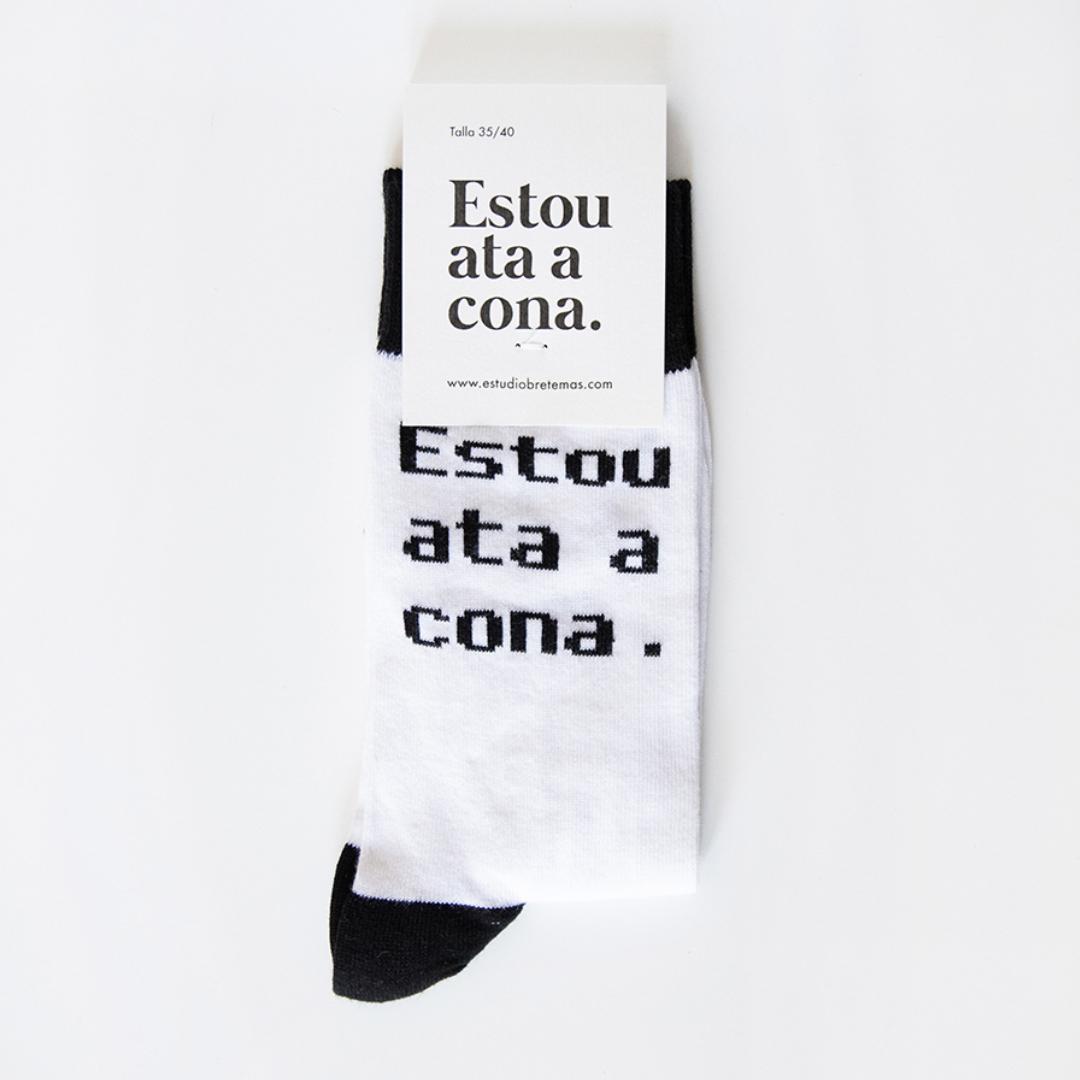 """Calcetíns """"Estou ata a cona"""" Branco Negro"""