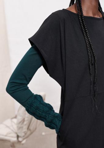 Vestido curto manga curta trapecio  invertido