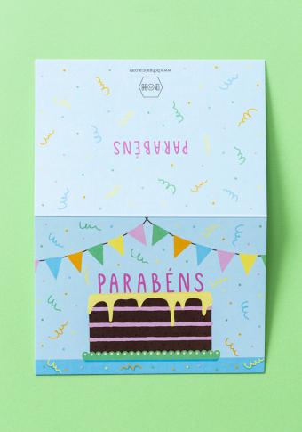 """Postal """"Parabéns"""" tarta."""