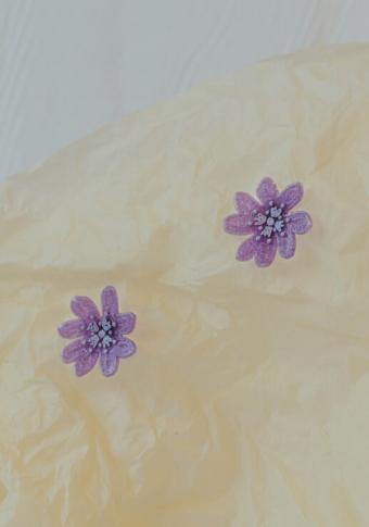 Pendentes flor  lila 3D