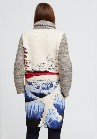 "Abrigo bagoa ""Kanagawa"" pescozo alto xaspeado"