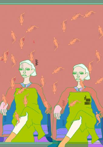 Echarpe seda 90x90 mulleres sentadas coral