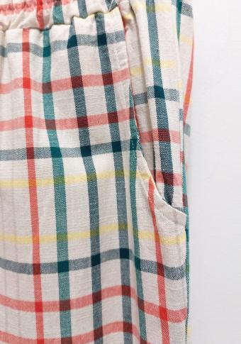 Pantalón lineas e raias cores.
