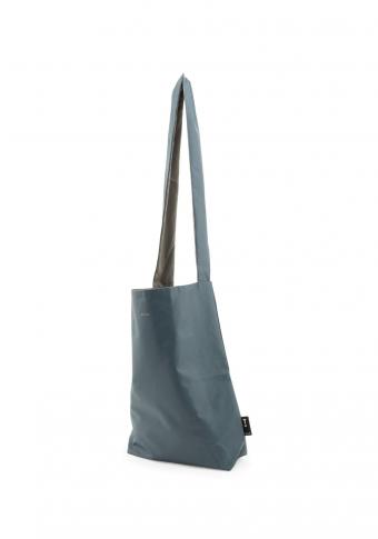 Bolso vegano impermeable reversible azul medio/gris