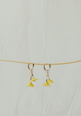 Pendentes aro 2 flores amarelo 3D