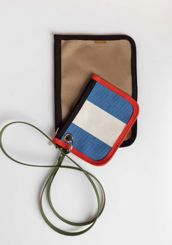 Mini bolso reciclado 2 pezas raias