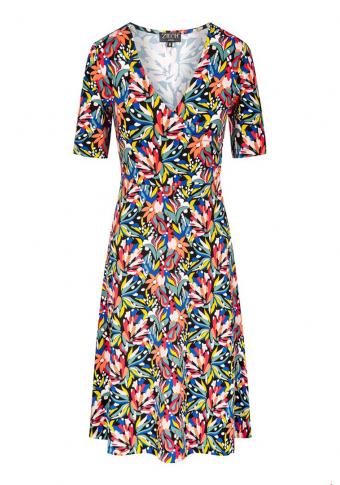 vestido eco vero escote cruzado manga curta bouquet