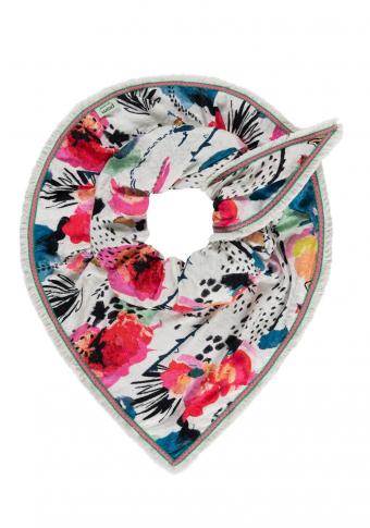 Pano triangular cupro e viscosa flores con flocos