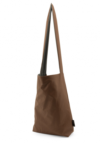 Bolso vegano reversible impermeable chocolate/gris