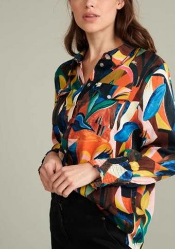 Camisa multicolor puños cenguidos