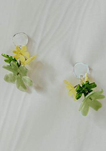 Pendentes verde círculo metacrilato 4 flores 3D