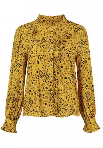 Camisa amarela flores con volantes