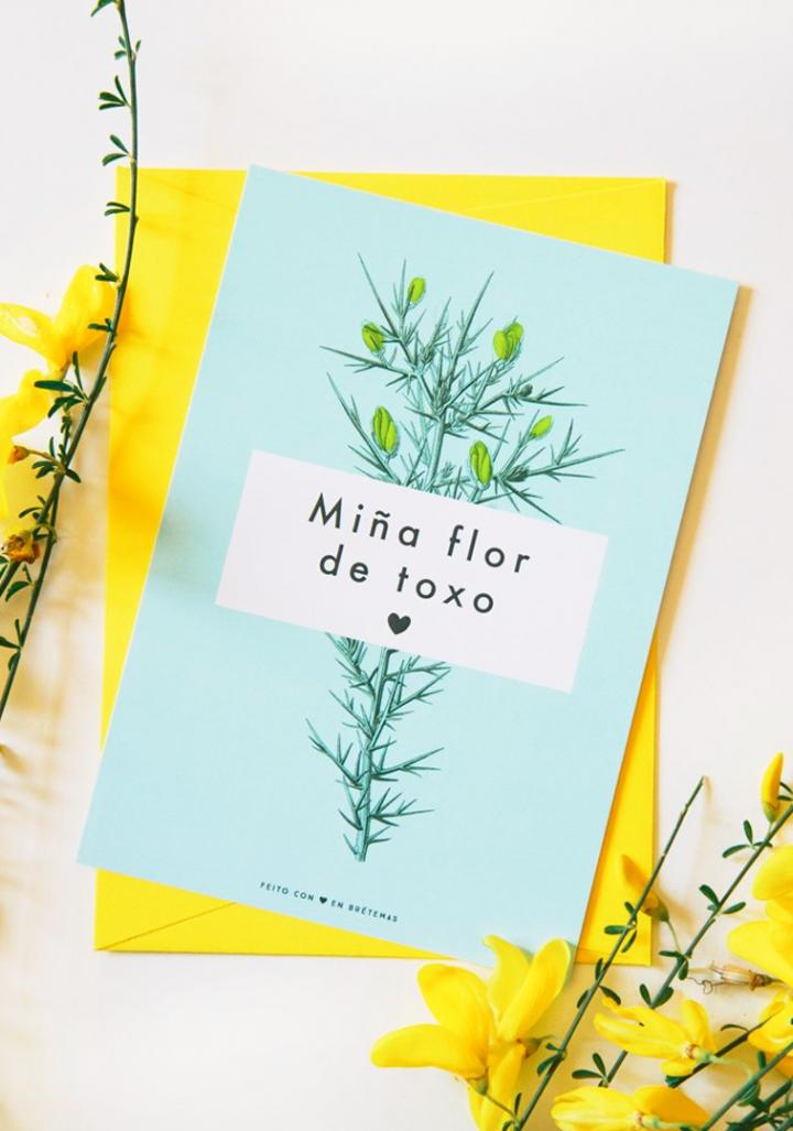 """Postal """"Miña flor de toxo"""" con sobre"""