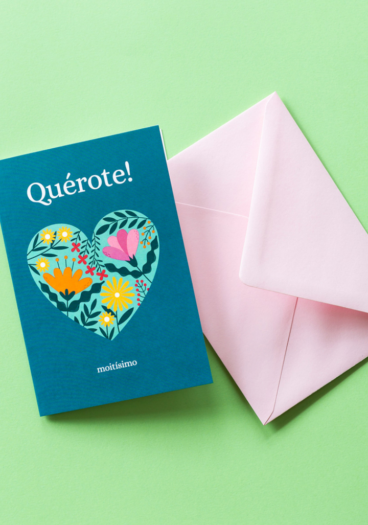 """Postal """"Quérote!"""" corazón """"moitísimo."""