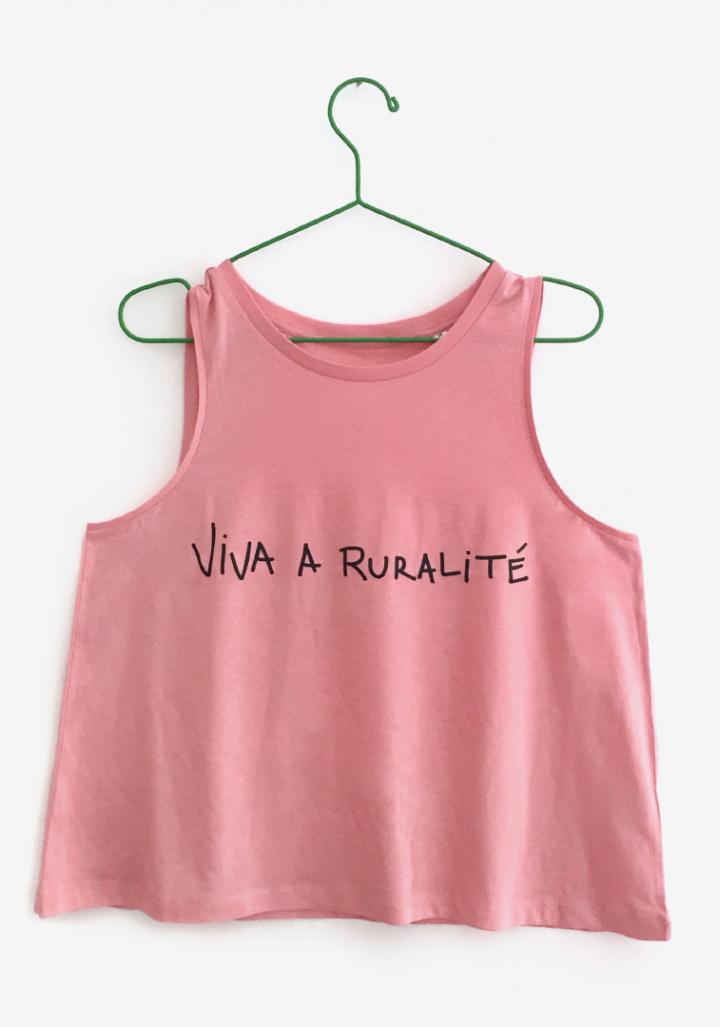 """Camiseta tiras """"Viva a ruralité"""""""