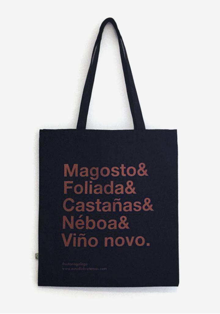 """Saca """"Magosto&"""" algodón orgánico serigrafía"""