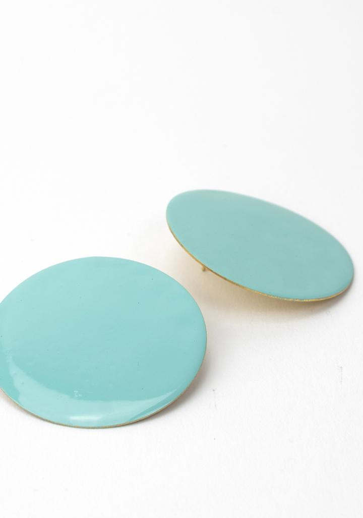 Pendentes círculo G esmalte azul