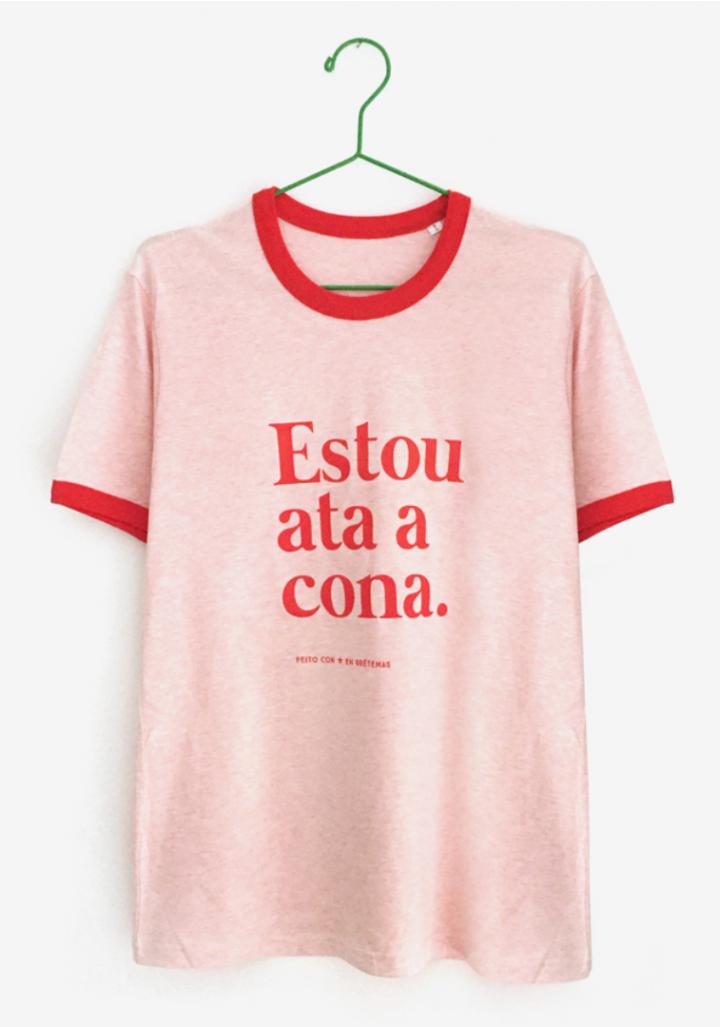 "Camiseta ""Estou ata a cona"" rosa rosa"
