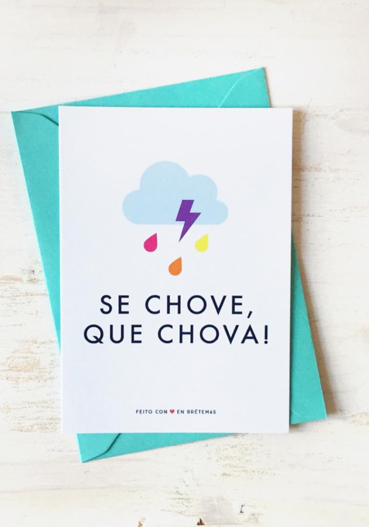 """Postal """" Se chove que chova"""" con sobre"""